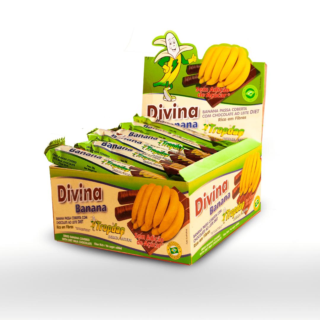Banana passa coberta com chocolate Diet 28g - Display com 24 unidades